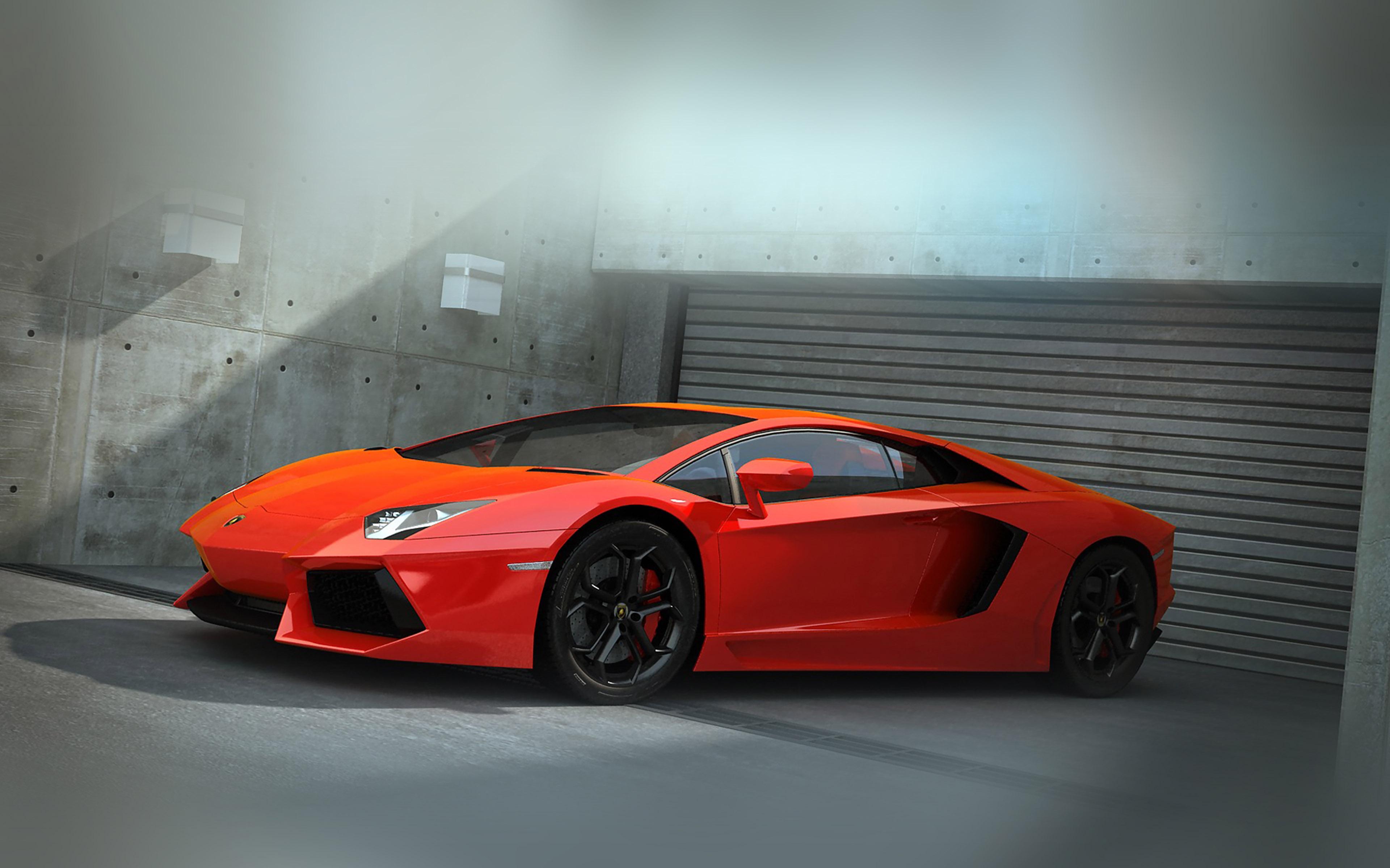 Ai89 Red Lamborghini Parked Car Art Papers Co