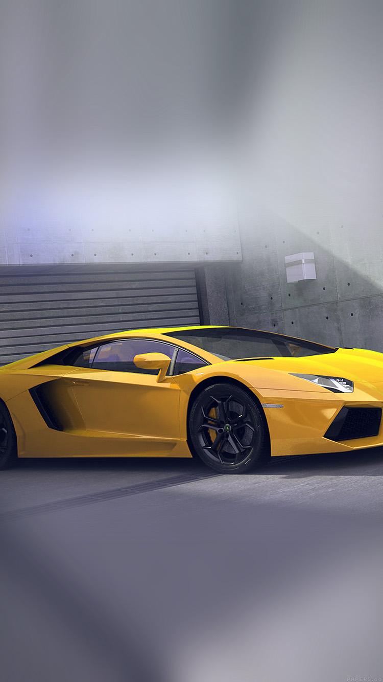 Papers.co-iPhone5-iphone6-plus-wallpaper-ai90-yellow-lamborghini-parked-car-art
