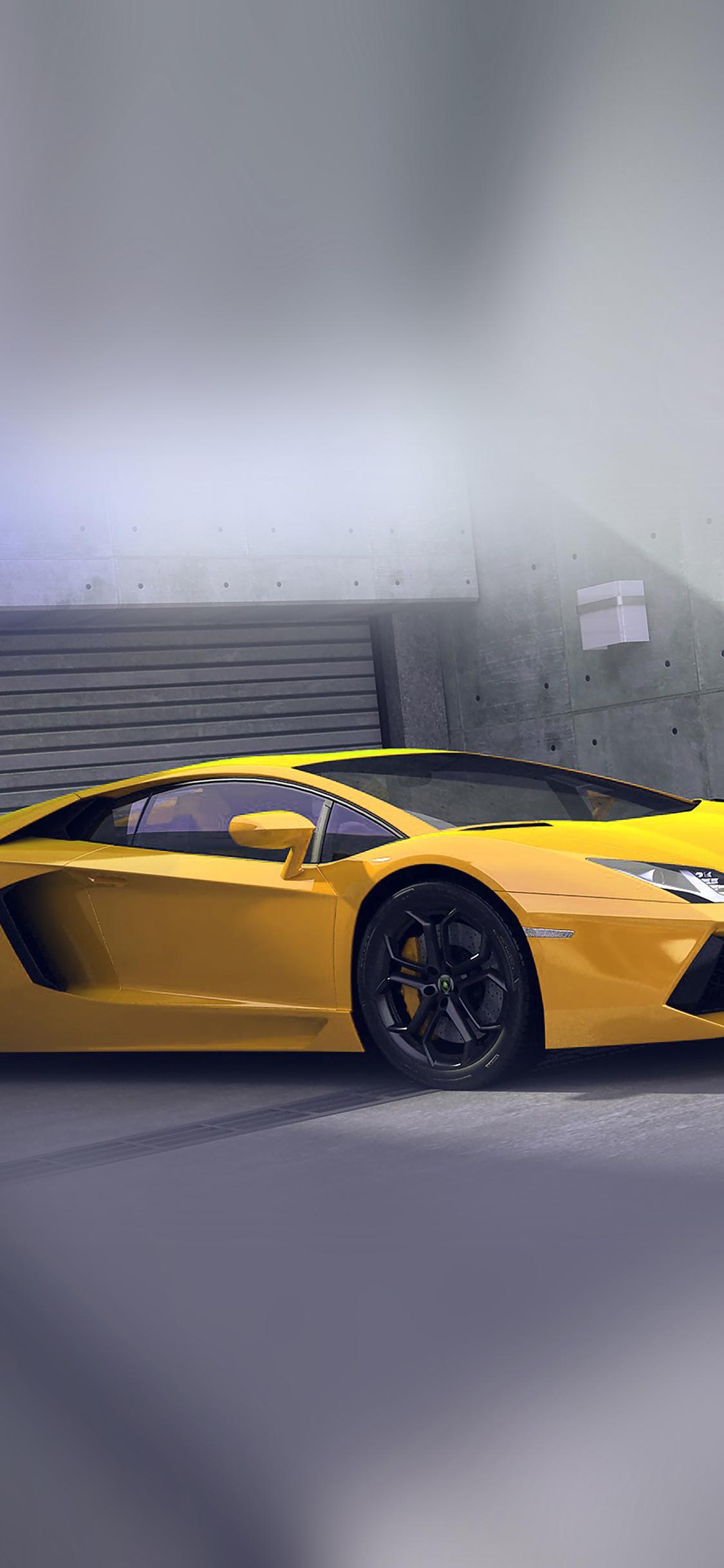 iPhoneXpapers.com-Apple-iPhone-wallpaper-ai90-yellow-lamborghini-parked-car-art