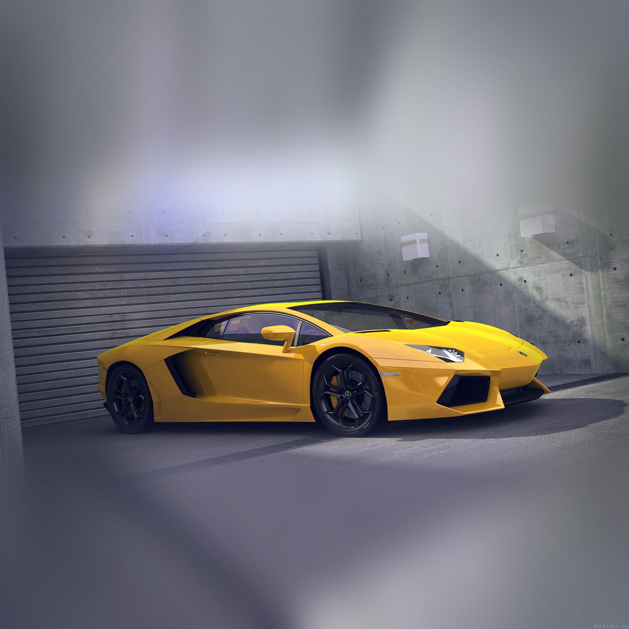 Ai90 Yellow Lamborghini Parked Car Art Papers Co