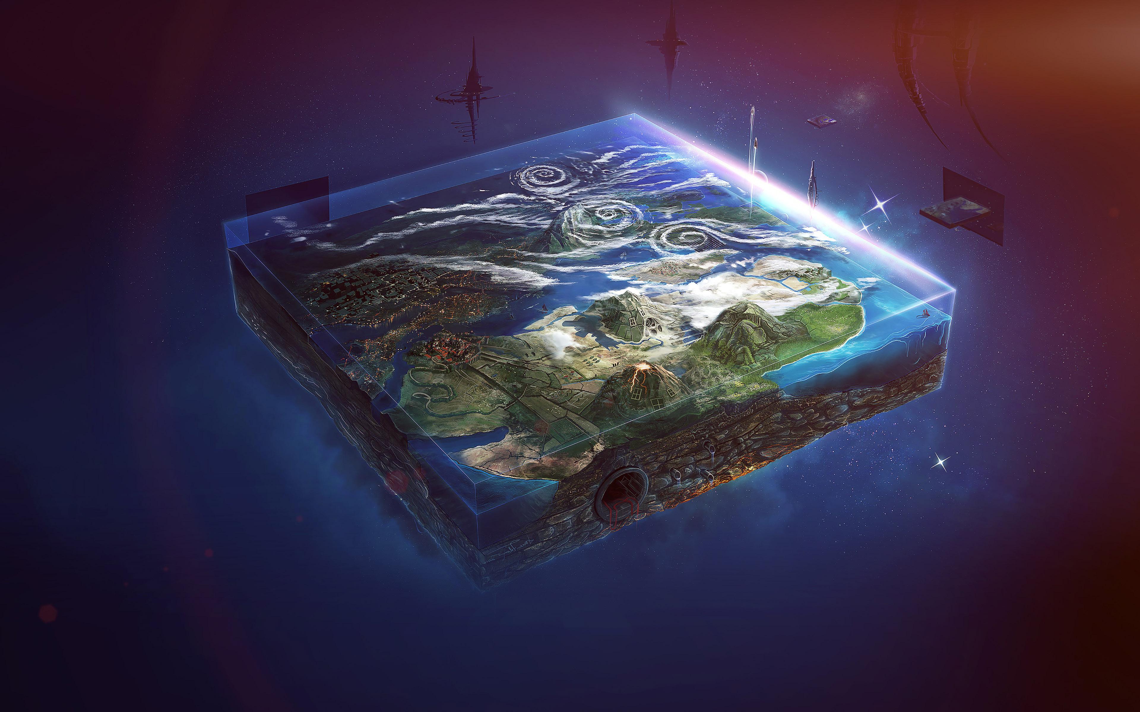 Ai95-flat-earth-art-flare-illust-space-wallpaper
