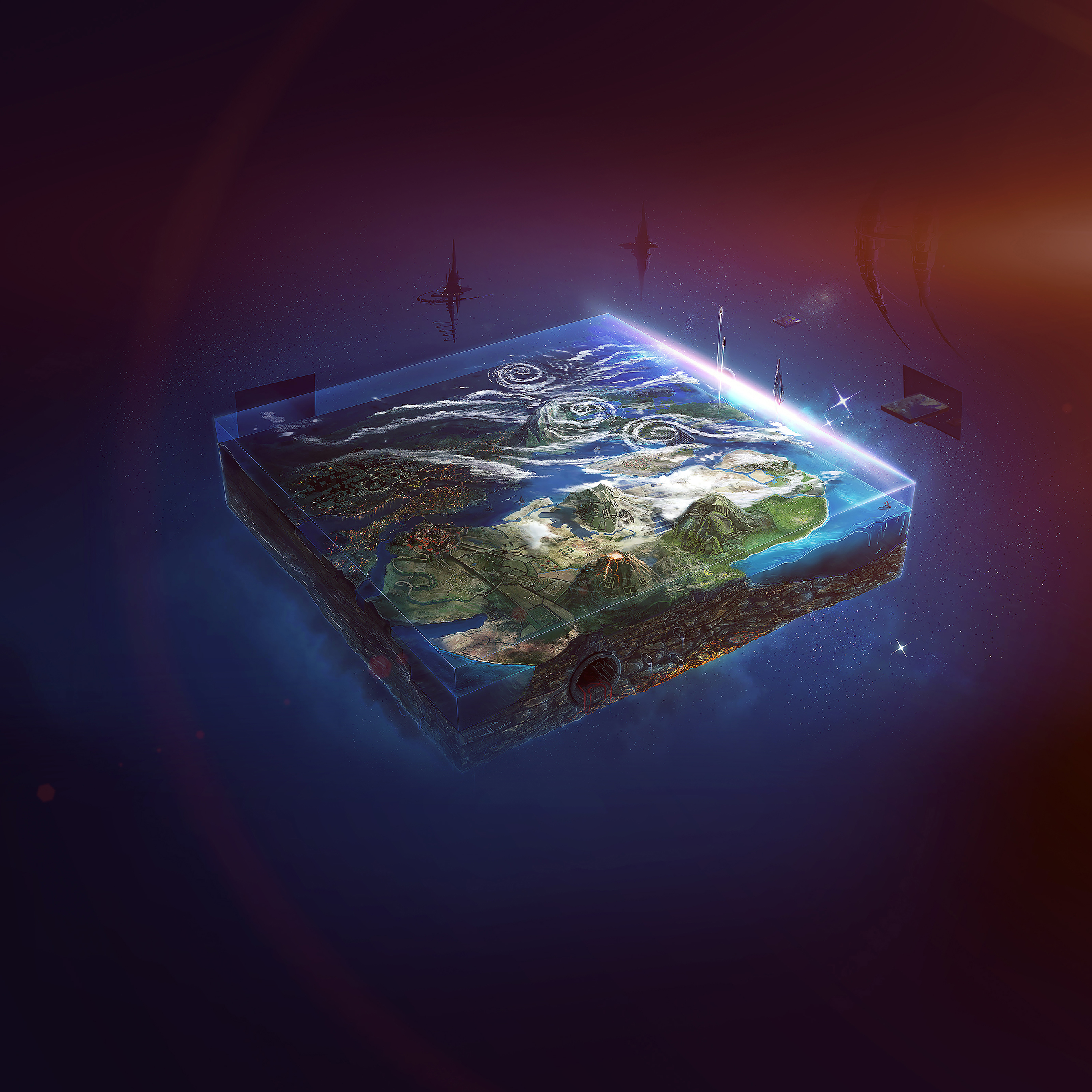 Desktop Wallpaper Earth From Space: Ai95-flat-earth-art-flare-illust-space