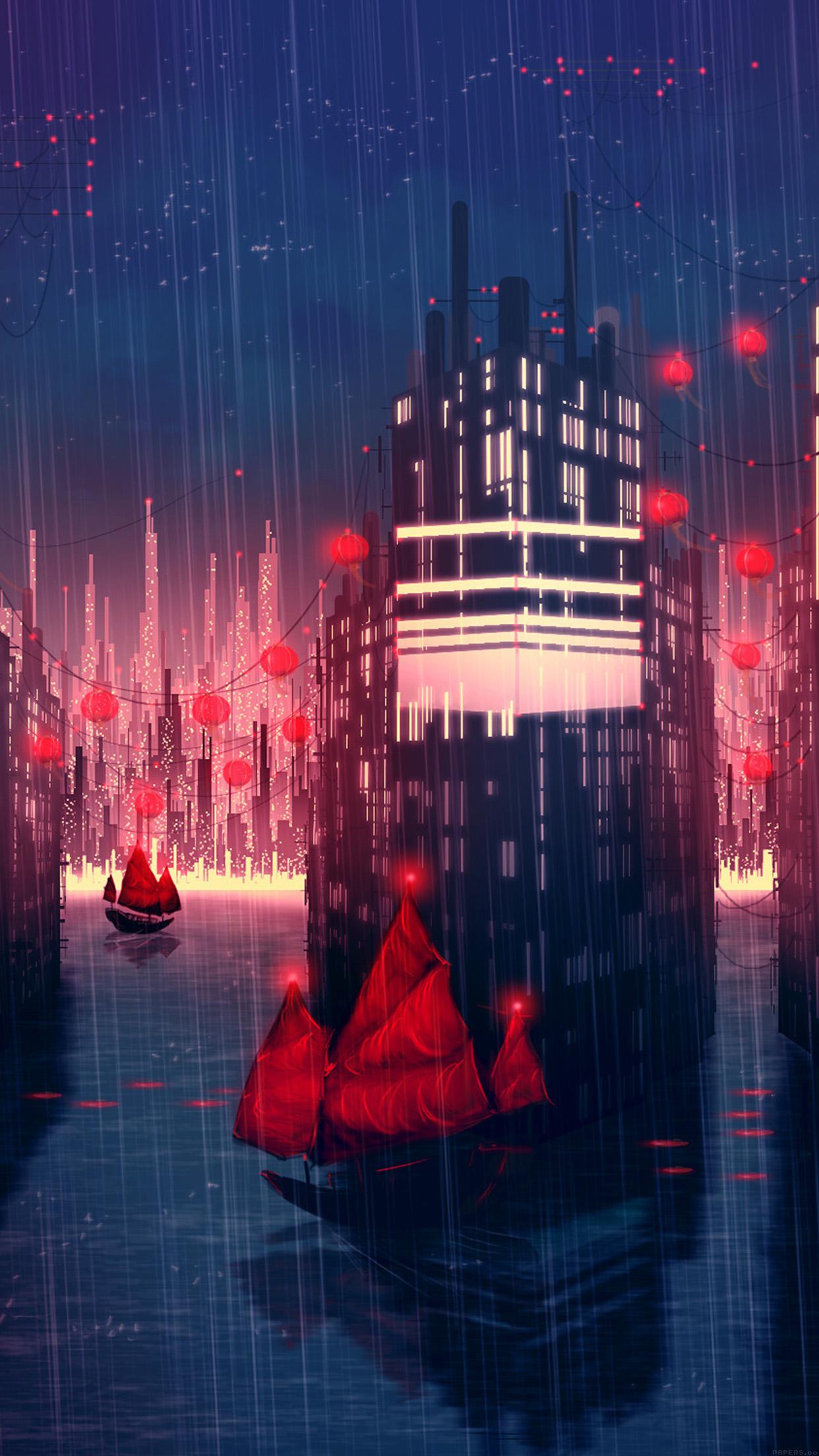 Papers Co Iphone Wallpaper Aj08 Rainy Anime City Art Illust