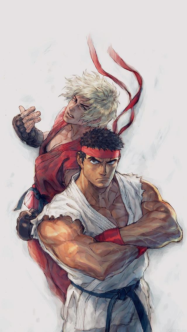 freeios8.com-iphone-4-5-6-plus-ipad-ios8-aj10-anime-street-fighters-ryu-ken-art-illust