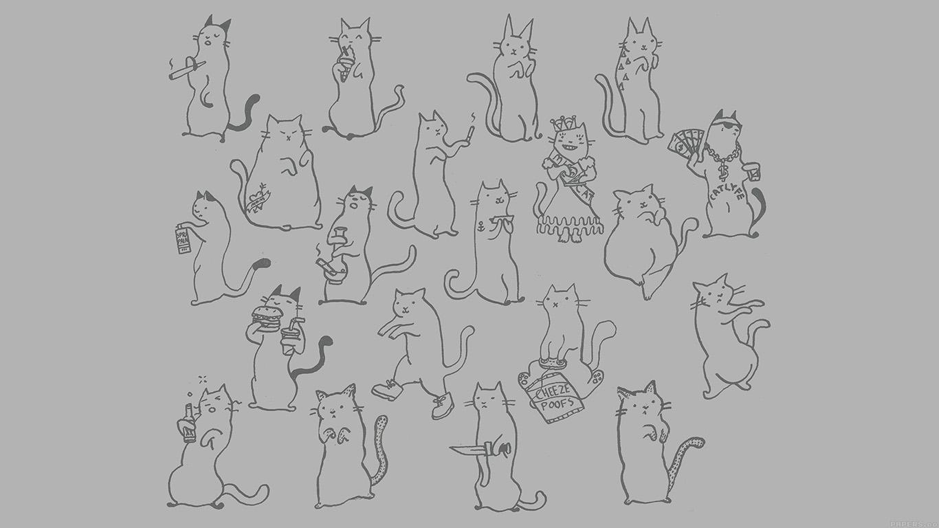 Wallpaper For Desktop Laptop Aj25 Cats Cute Illustration Art Simple Minimal