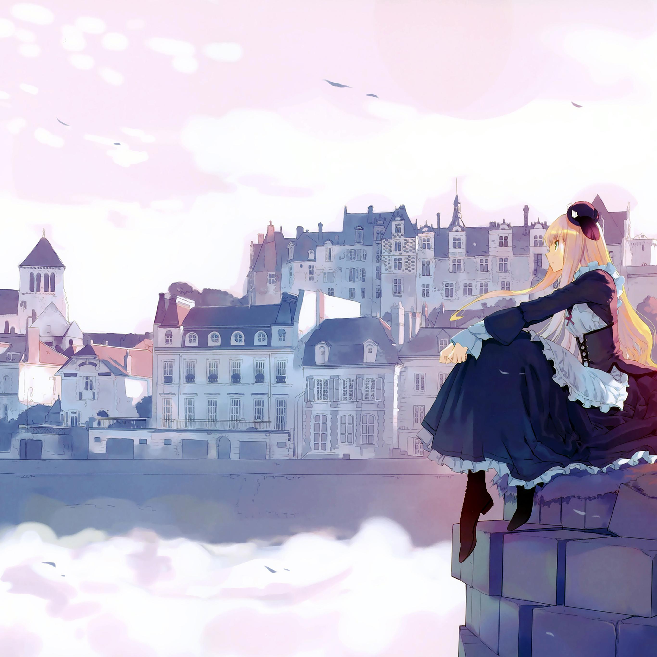 aj45 anime thinking girl lake illust art Papers