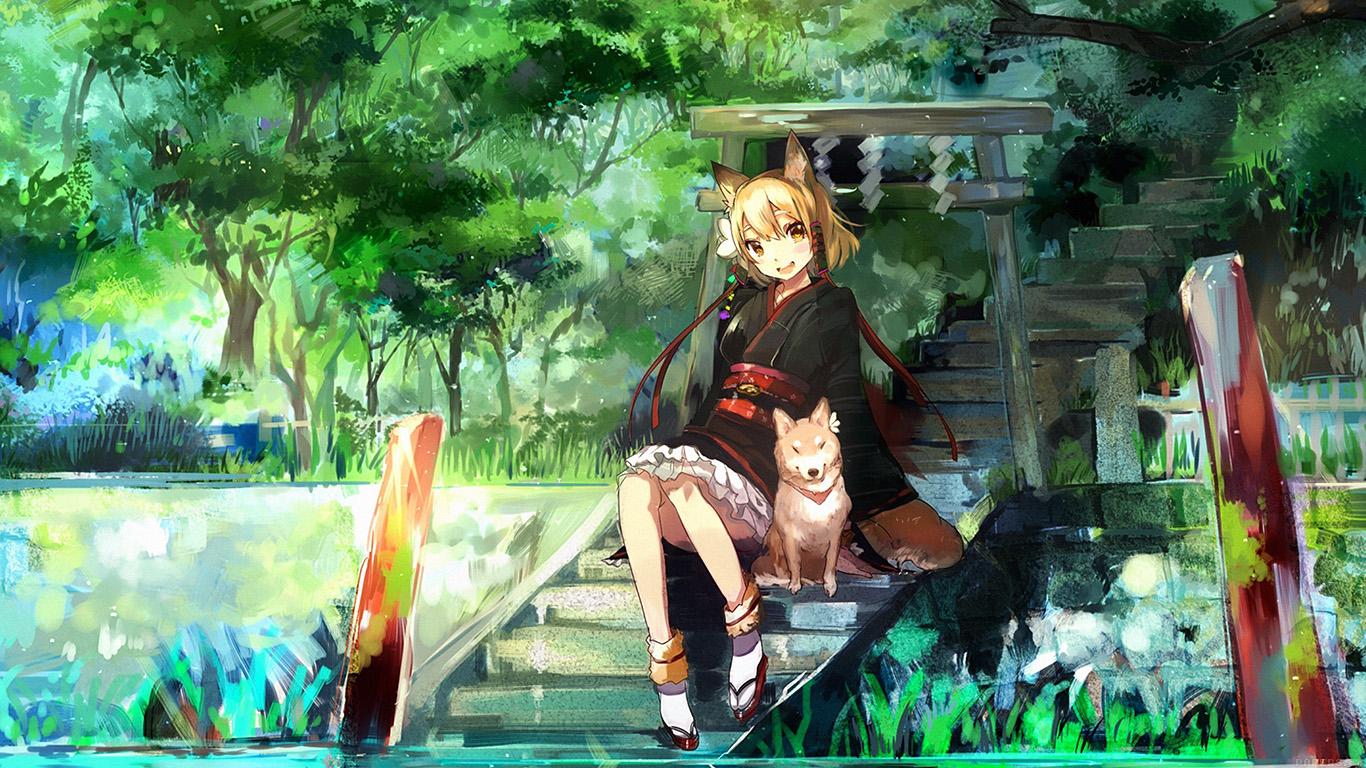 desktop-wallpaper-laptop-mac-macbook-airaj46-girl-and-dog-green-anime-art-illust-wallpaper