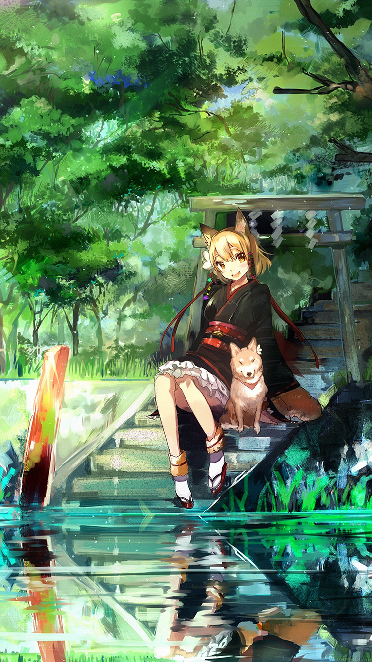 Papers.co-iPhone5-iphone6-plus-wallpaper-aj46-girl-and-dog-green-anime-art-illust