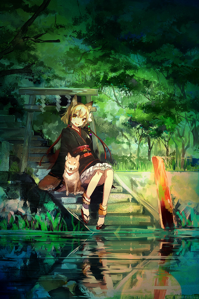 Freeios7 aj47 girl and dog green nature anime art illust - Anime wallpaper hd iphone 7 ...