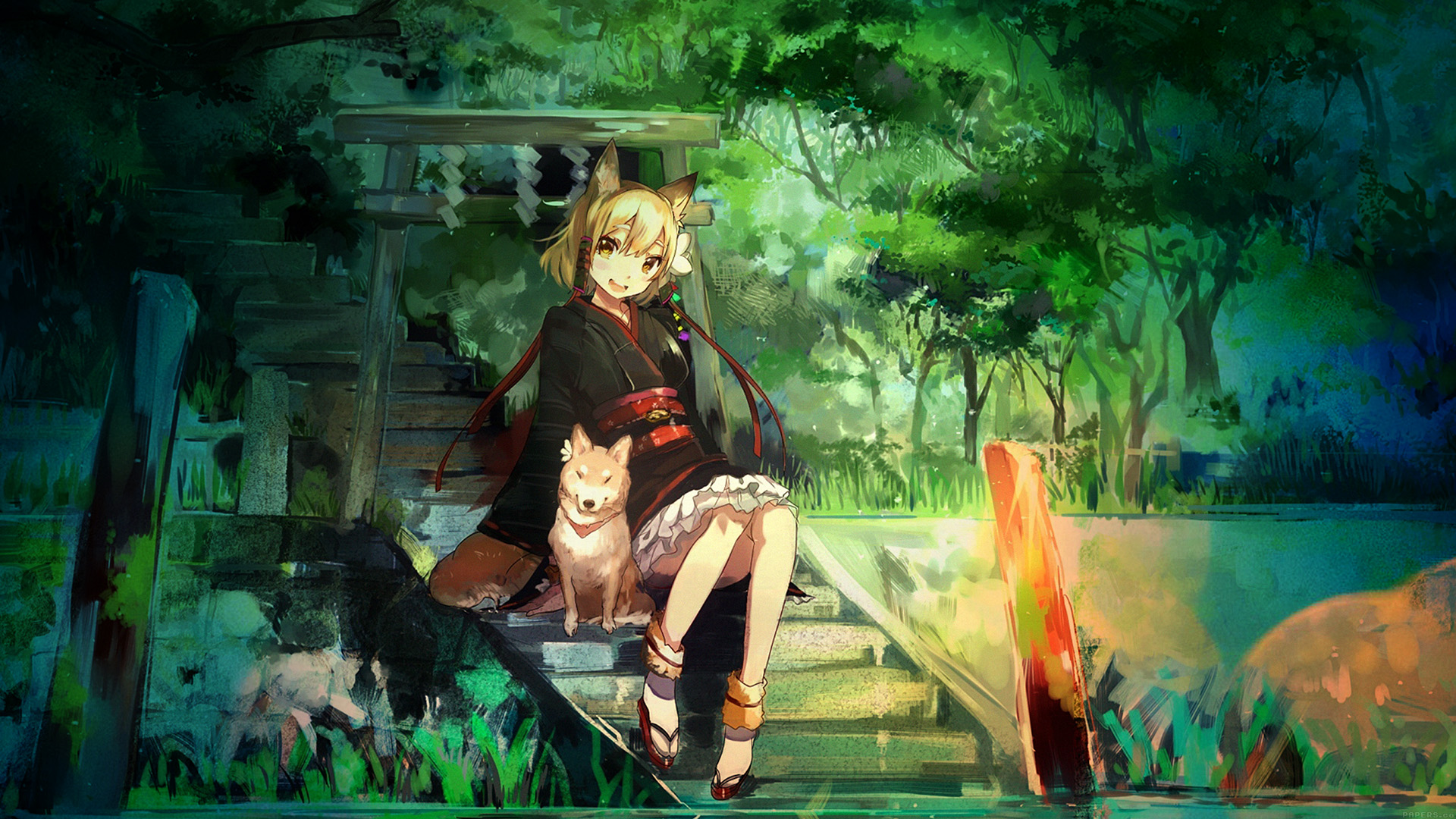 Anime Wallpaper Hd For Iphone: Aj47-girl-and-dog-green-nature-anime-art-illust