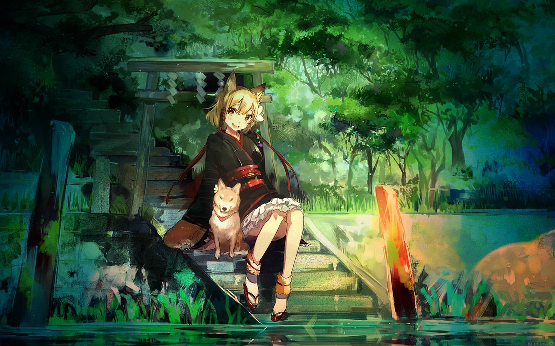Aj47 Girl And Dog Green Nature Anime Art Illust
