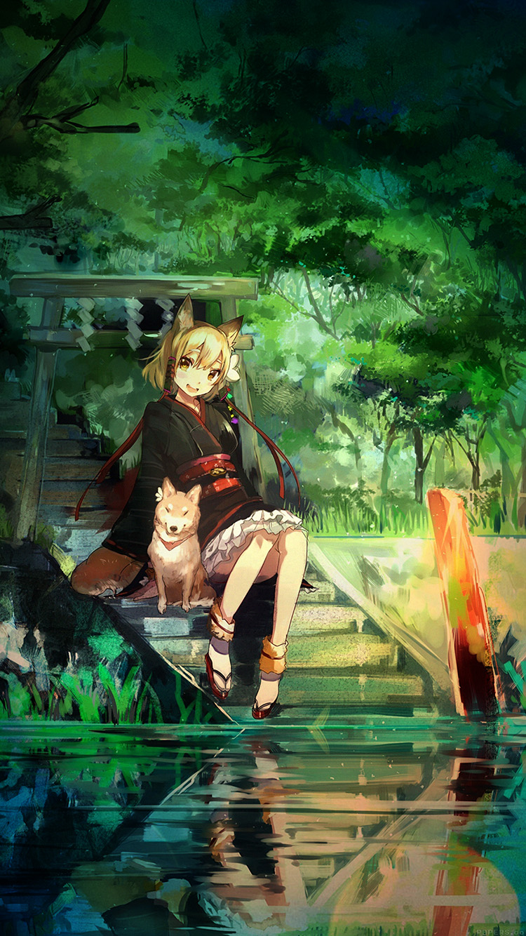 Papers.co-iPhone5-iphone6-plus-wallpaper-aj47-girl-and-dog-green-nature-anime-art-illust