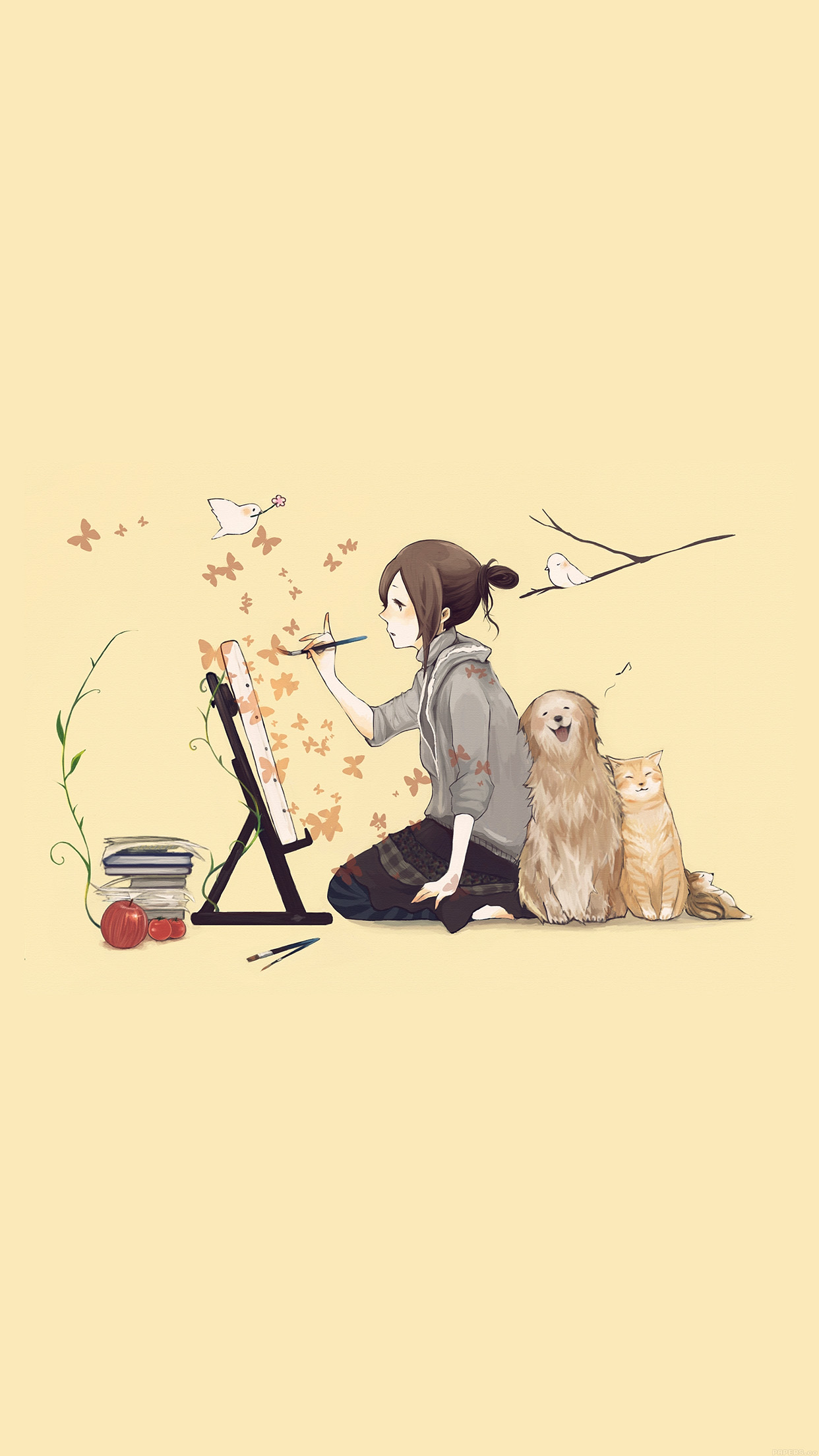 Iphone6papers Aj48 Illustrator Dog Cat Art Illust