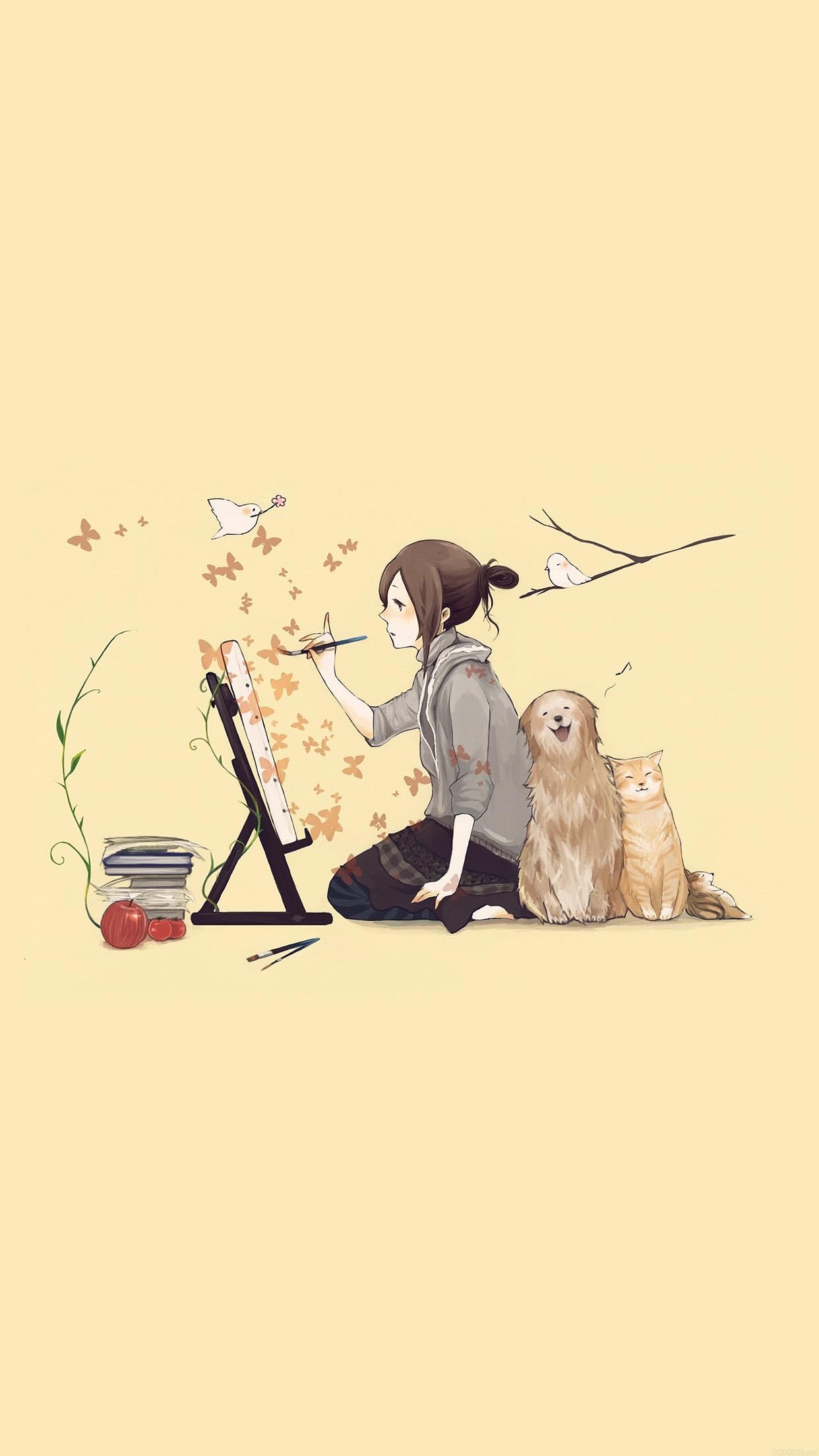 Iphone6papers Aj48 Illustrator Dog Cat Art Illust