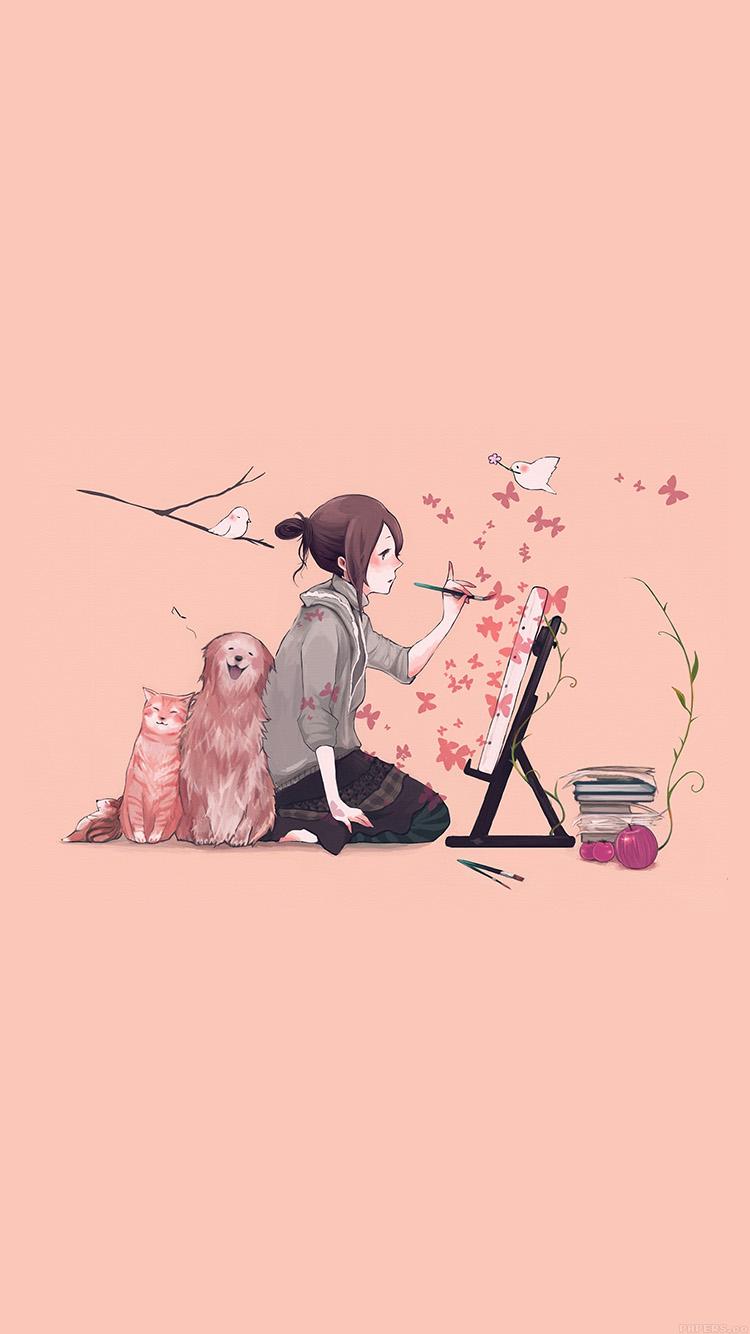 Papers.co-iPhone5-iphone6-plus-wallpaper-aj49-illustrator-dog-cat-pink-art-illust