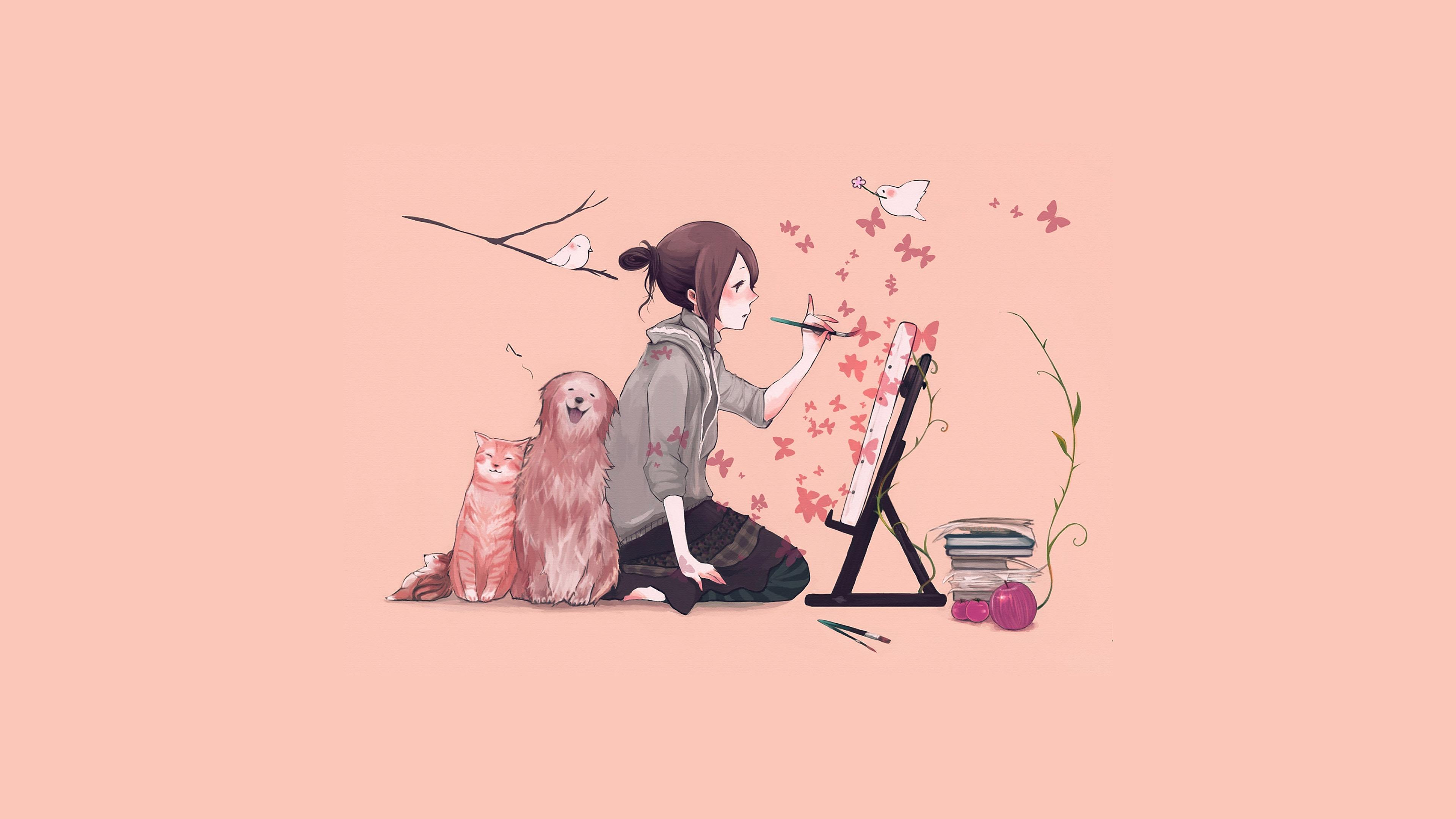 Wallpaper For Desktop Laptop Aj49 Illustrator Dog Cat Pink Art Illust