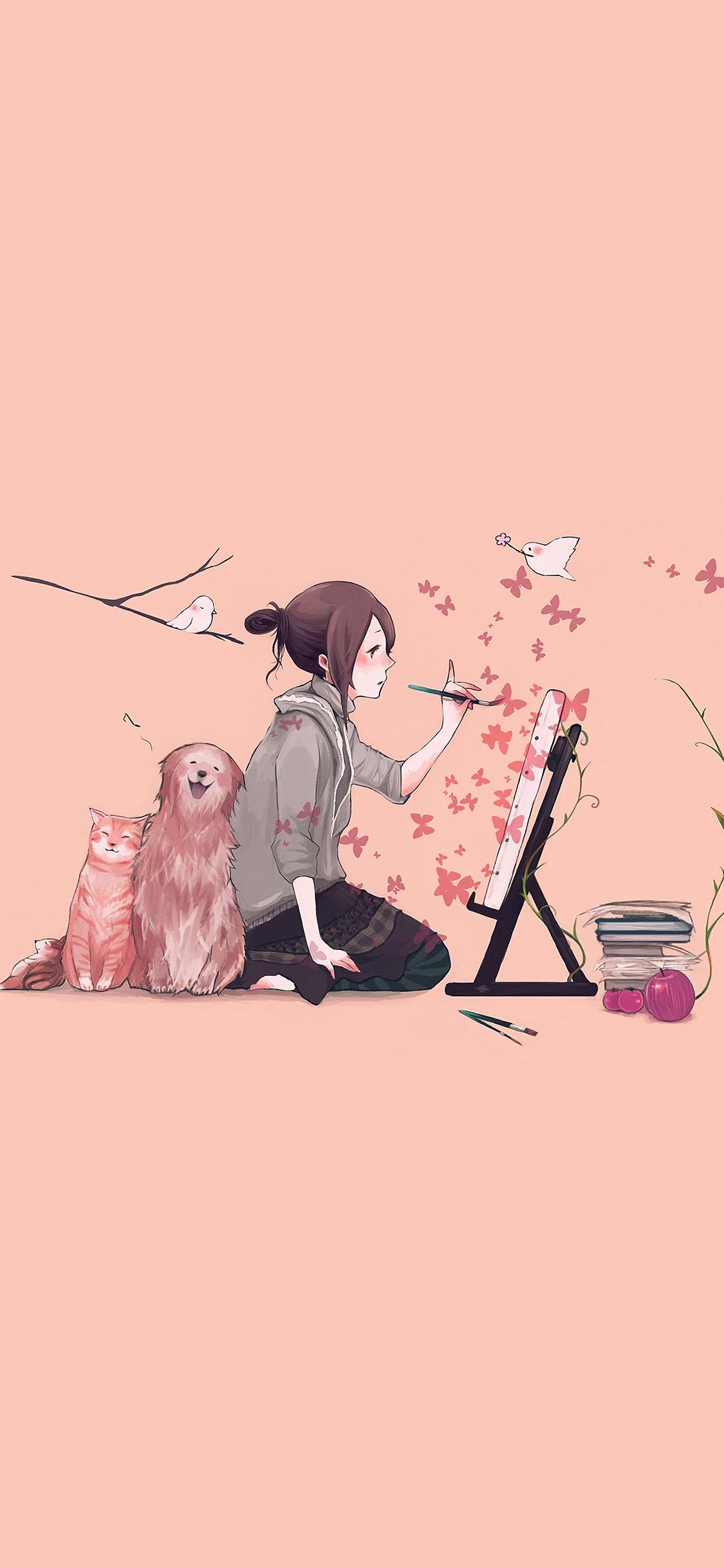 Aj49 Illustrator Dog Cat Pink Art Illust Wallpaper