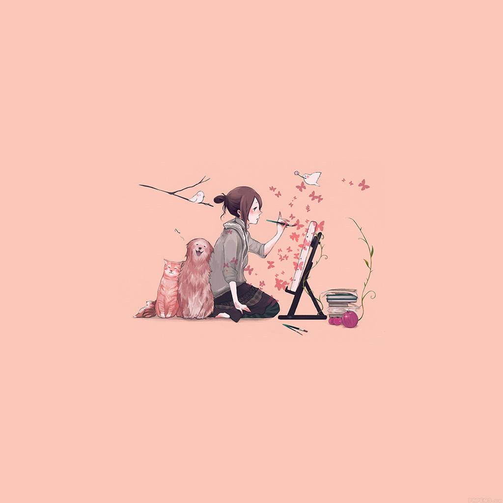 wallpaper-aj49-illustrator-dog-cat-pink-art-illust-wallpaper