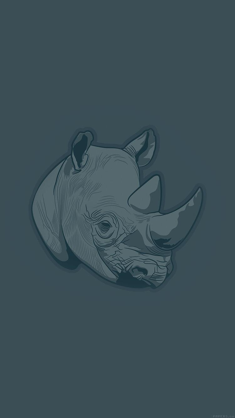 Papers.co-iPhone5-iphone6-plus-wallpaper-aj52-thoughtful-rhino-blue-minimal-illust-art