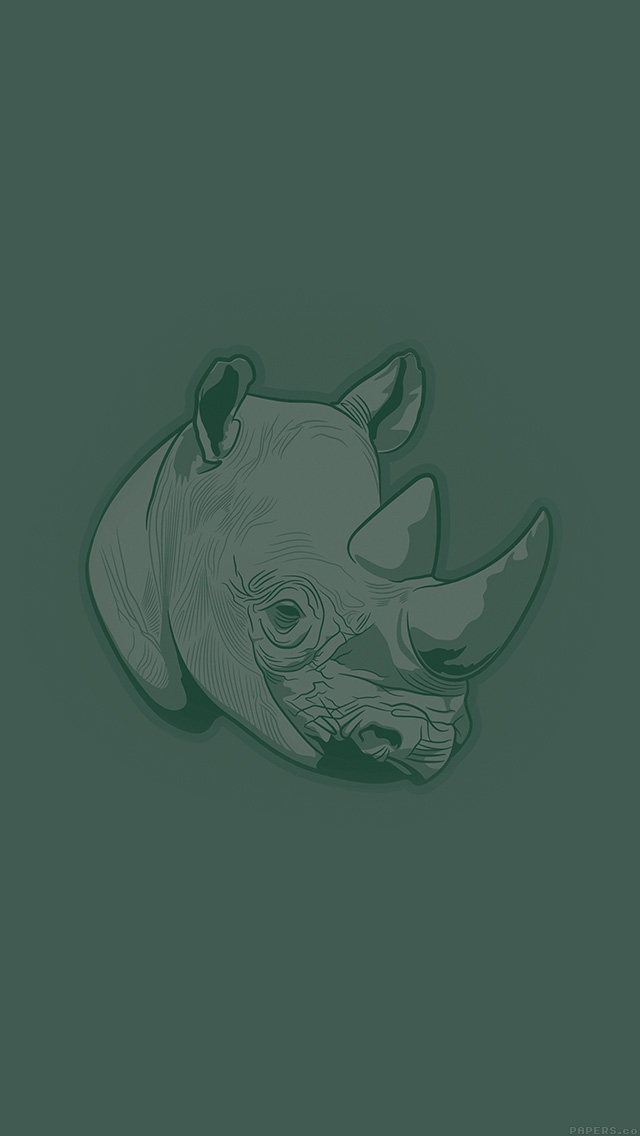 freeios8.com-iphone-4-5-6-plus-ipad-ios8-aj53-thoughtful-rhino-green-minimal-illust-art