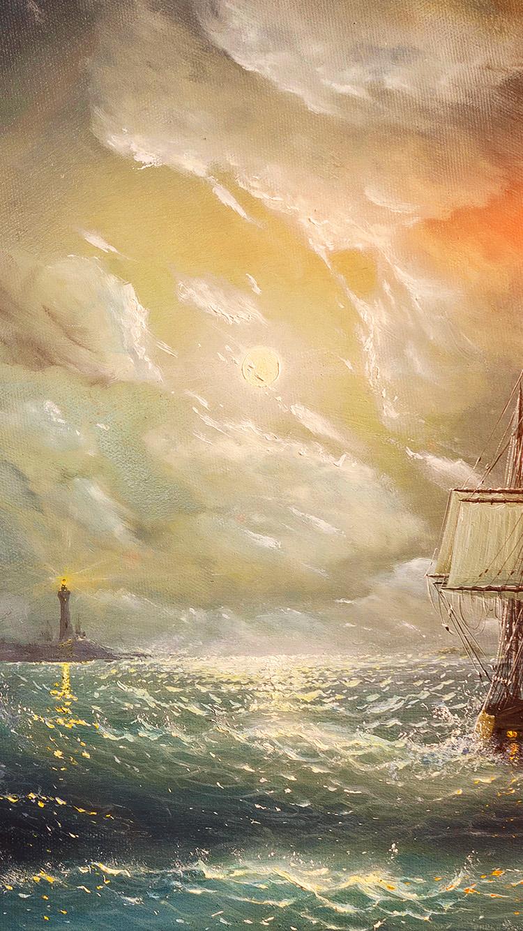 iPhone7papers.com-Apple-iPhone7-iphone7plus-wallpaper-aj62-painting-sea-wave-red-sun-boat-illust-art