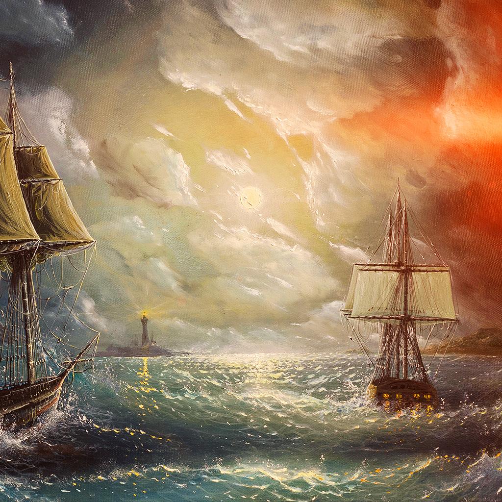 wallpaper-aj62-painting-sea-wave-red-sun-boat-illust-art-wallpaper