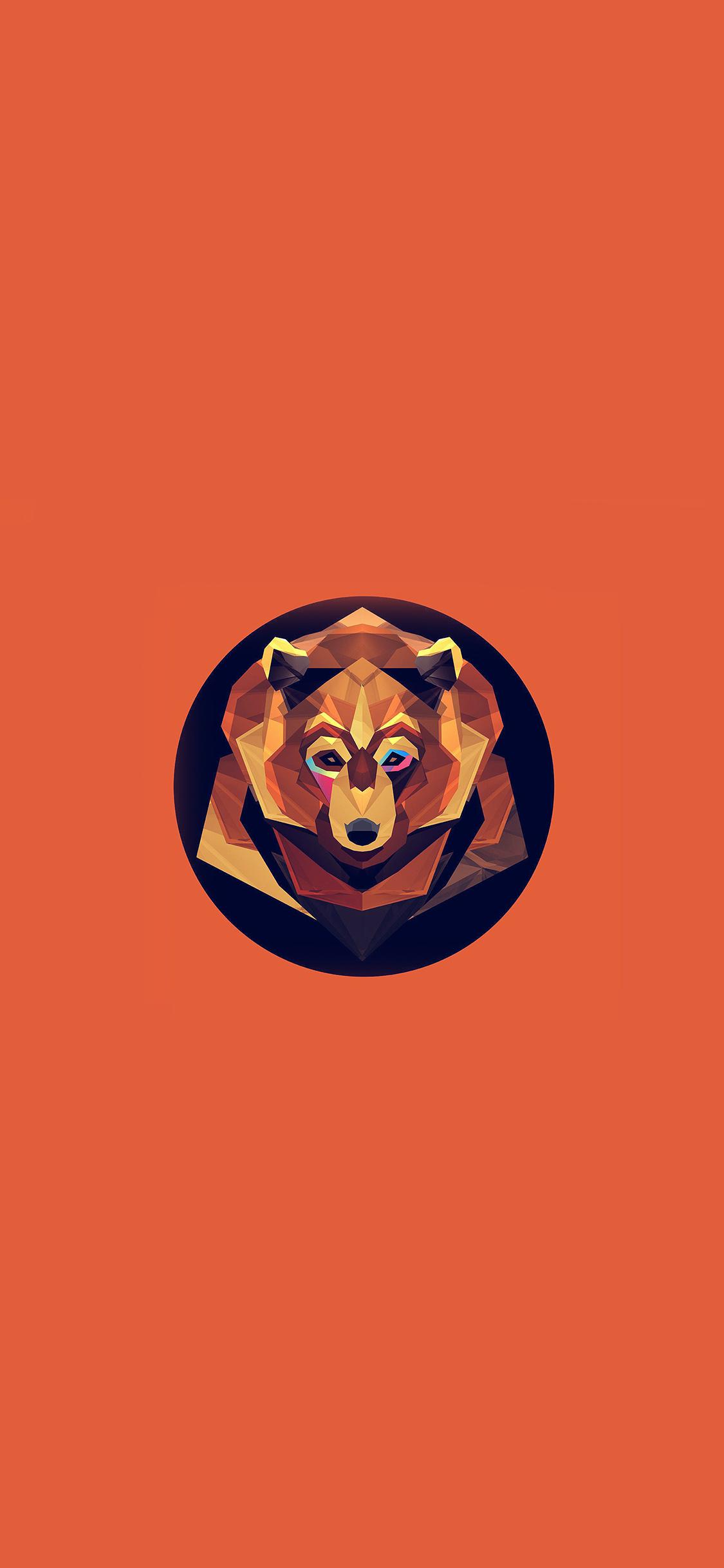 Ak05 Bear Polygon Art Animal Orange Papers Co