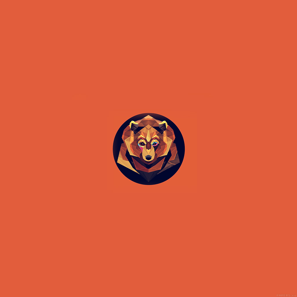android-wallpaper-ak05-bear-polygon-art-animal-orange-wallpaper