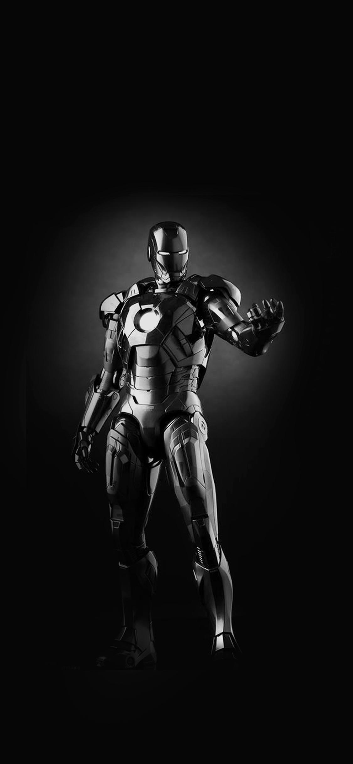 Am00 Ironman Dark Figure Hero Art Avengers Bw Wallpaper