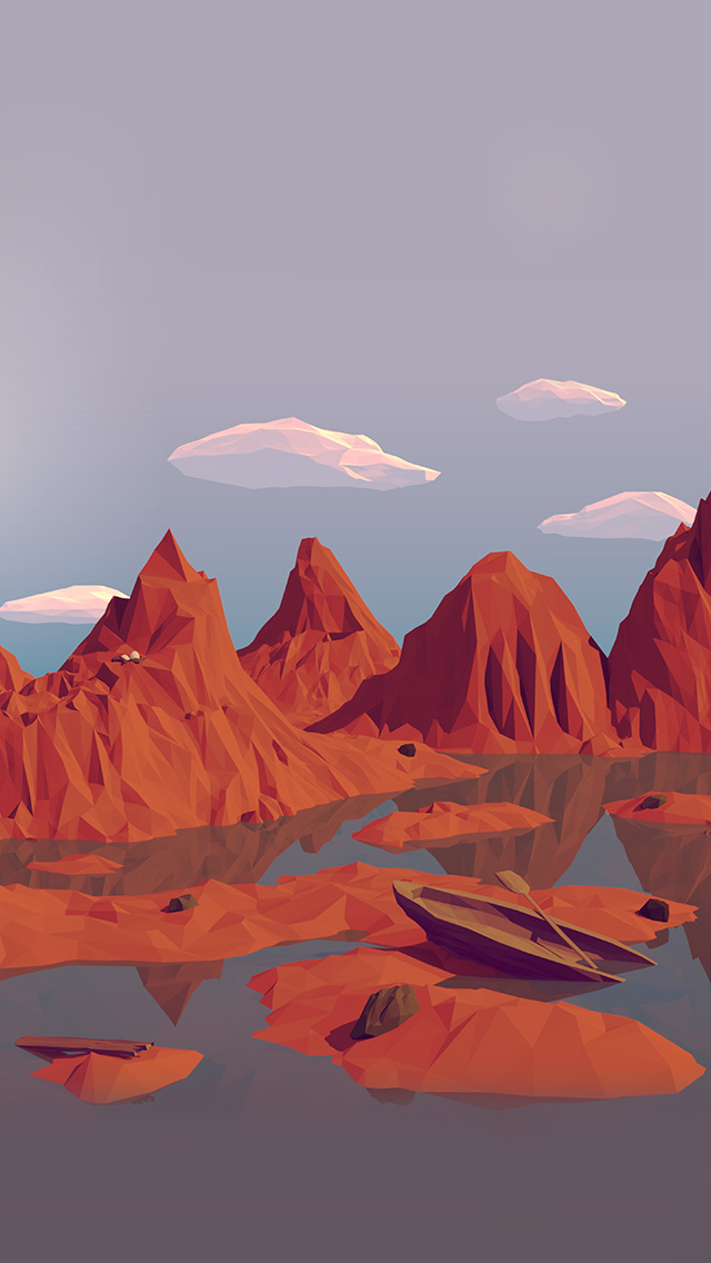 freeios8.com-iphone-4-5-6-plus-ipad-ios8-am37-low-poly-art-mountain-red-illust-art