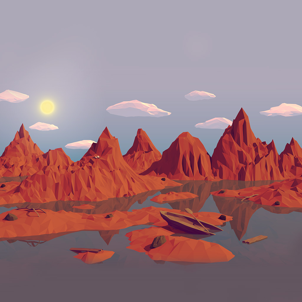 android-wallpaper-am37-low-poly-art-mountain-red-illust-art-wallpaper
