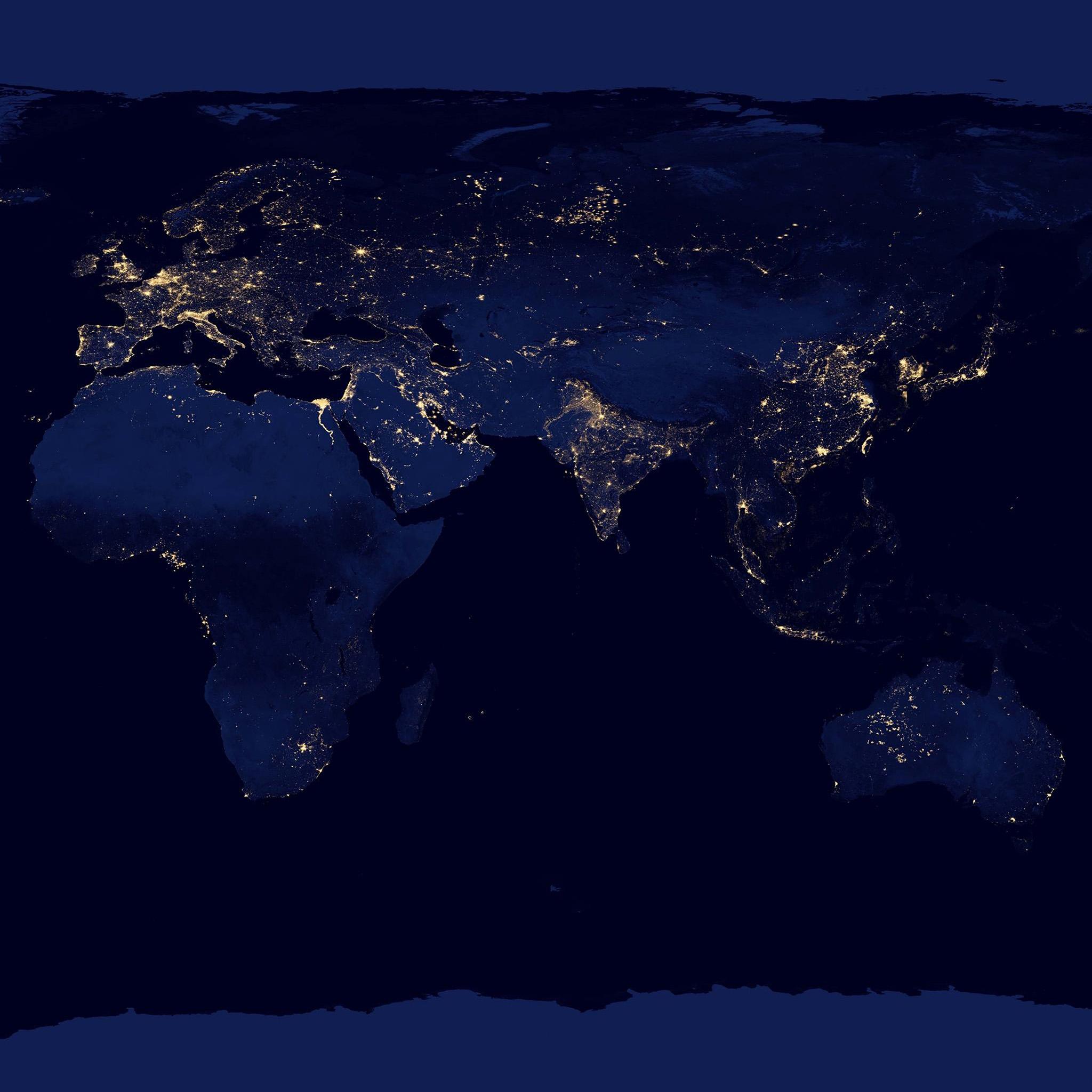 FreeiOS Amworldmapbluedarkearthviewart - World map ipad wallpaper