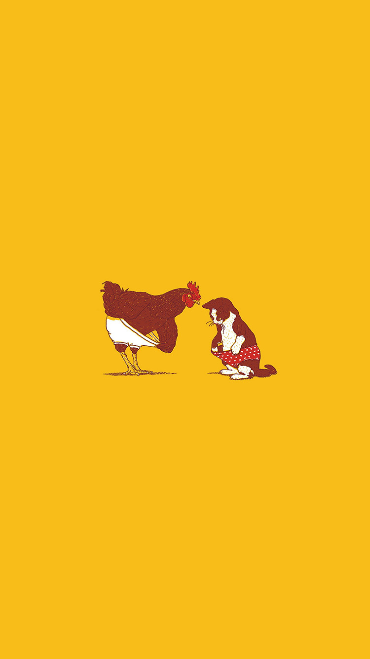 iPhone6papers.co-Apple-iPhone-6-iphone6-plus-wallpaper-an19-rooster-and-cat-pant-cute-fun-illust-art