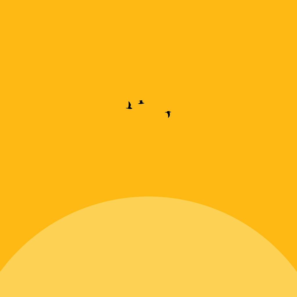 android-wallpaper-an22-sunset-yellow-bird-minimal-wallpaper