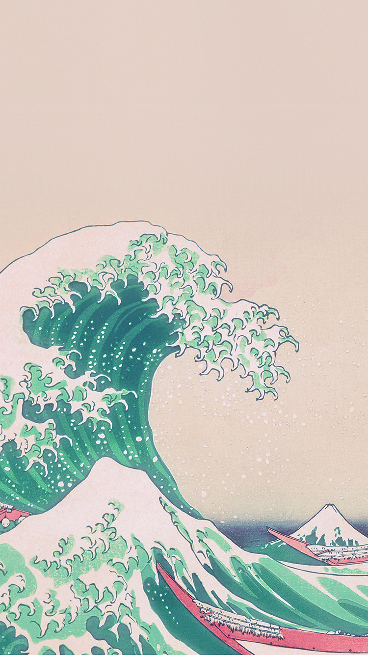 Papers.co-iPhone5-iphone6-plus-wallpaper-an26-wave-art-hokusai-japanese-green-illust-classic