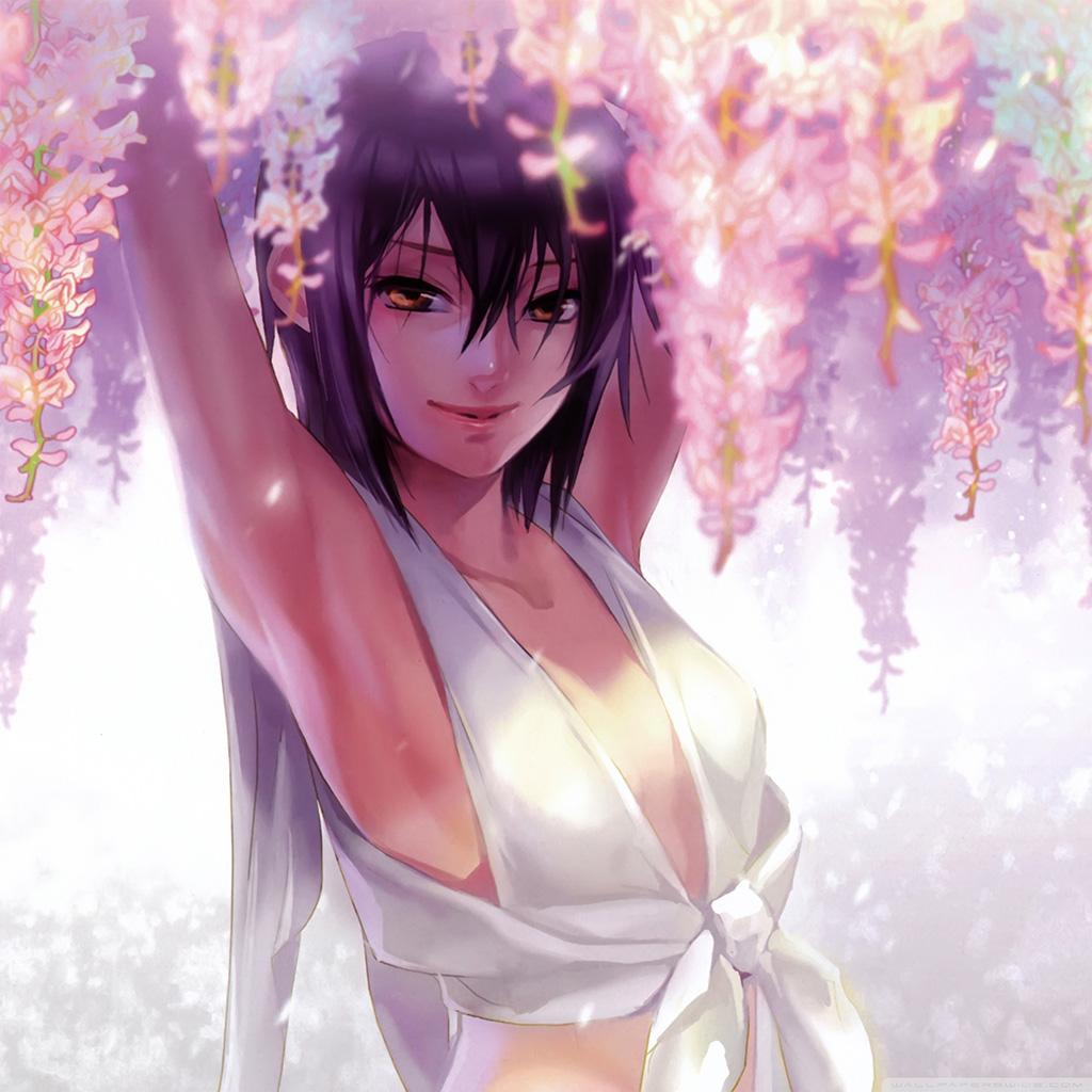 wallpaper-an76-anime-art-girl-flower-cute-white-wallpaper