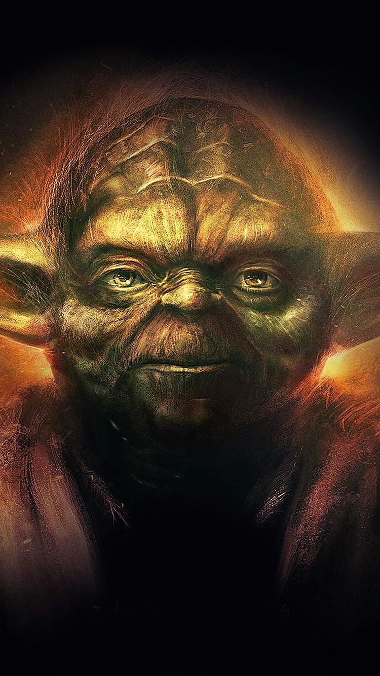 Papersco Iphone Wallpaper An79 Yoda Starwars Art Dark