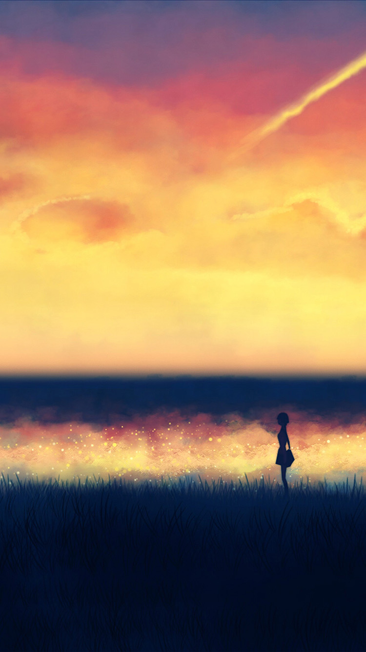 Papers.co-iPhone5-iphone6-plus-wallpaper-an83-fantasy-lonely-ilust-art-sunset-paint