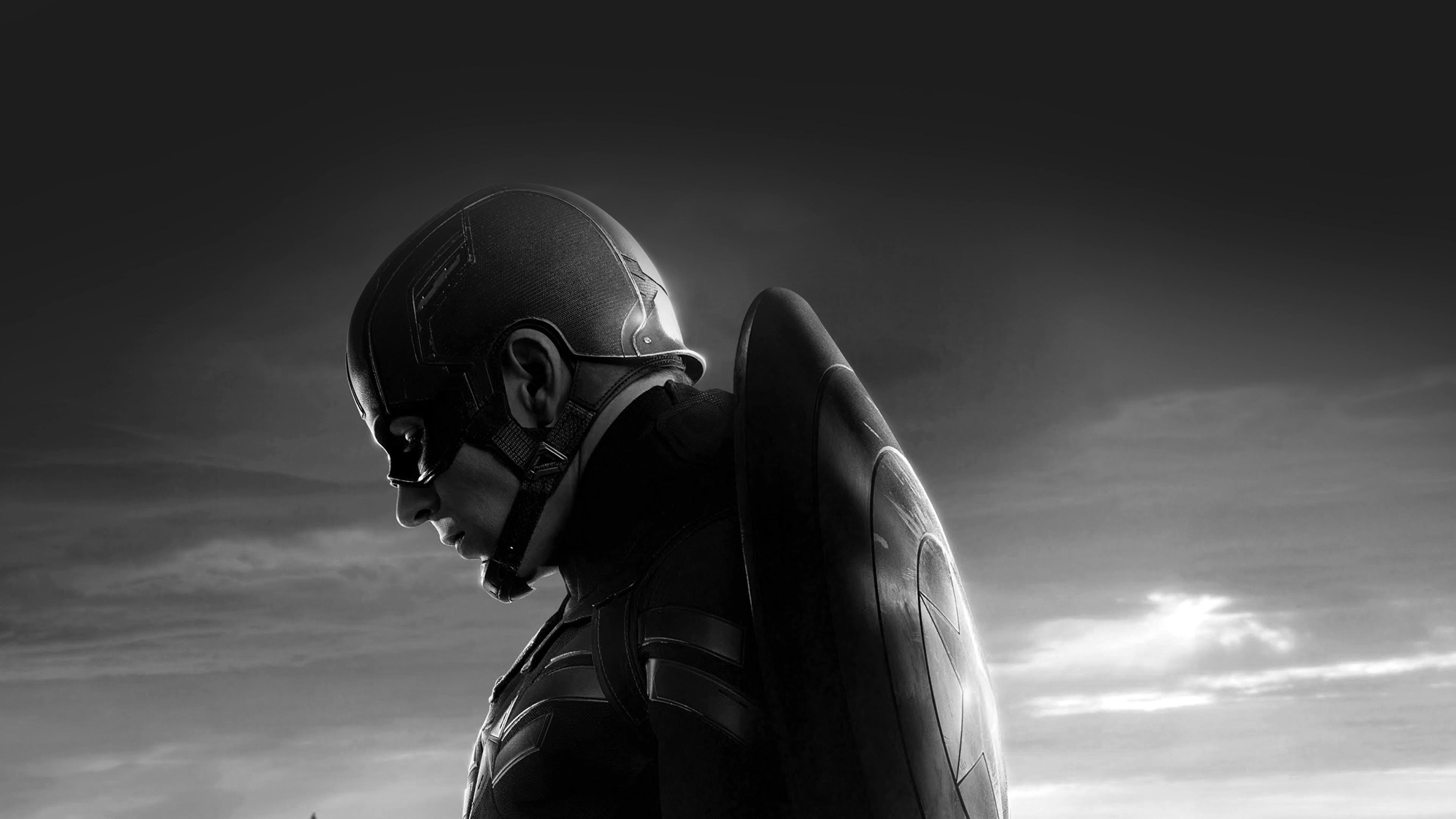 An85 Captain America Sad Hero Film Marvel Dark Bw Wallpaper