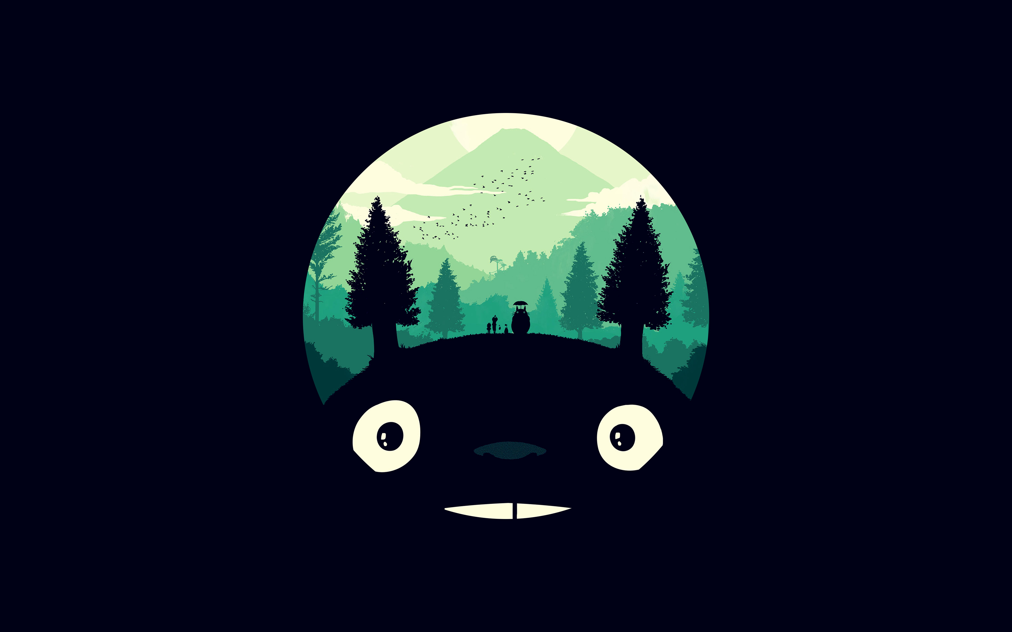 Ao38 Totoro Art Illust Simple Cute Dark Wallpaper