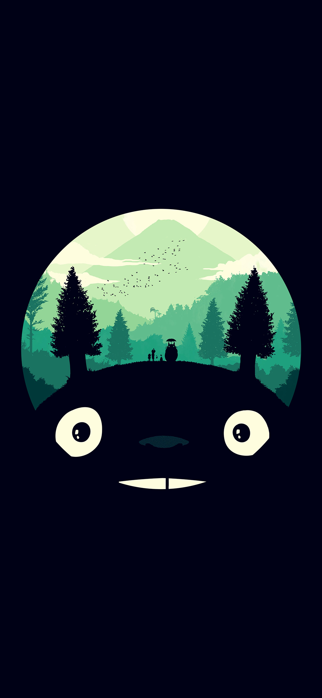 iPhoneXpapers.com-Apple-iPhone-wallpaper-ao38-totoro-art-illust-simple-cute-dark