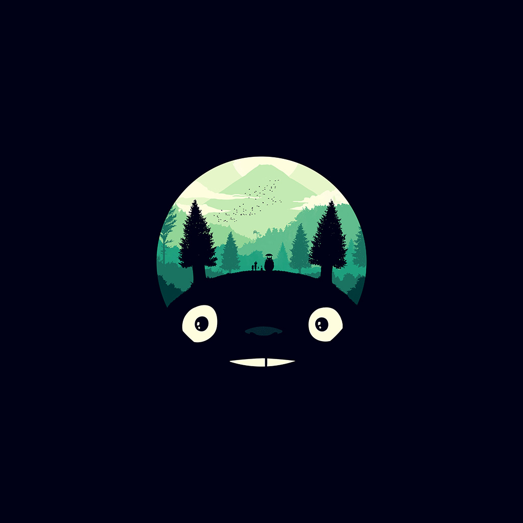 wallpaper-ao38-totoro-art-illust-simple-cute-dark-wallpaper