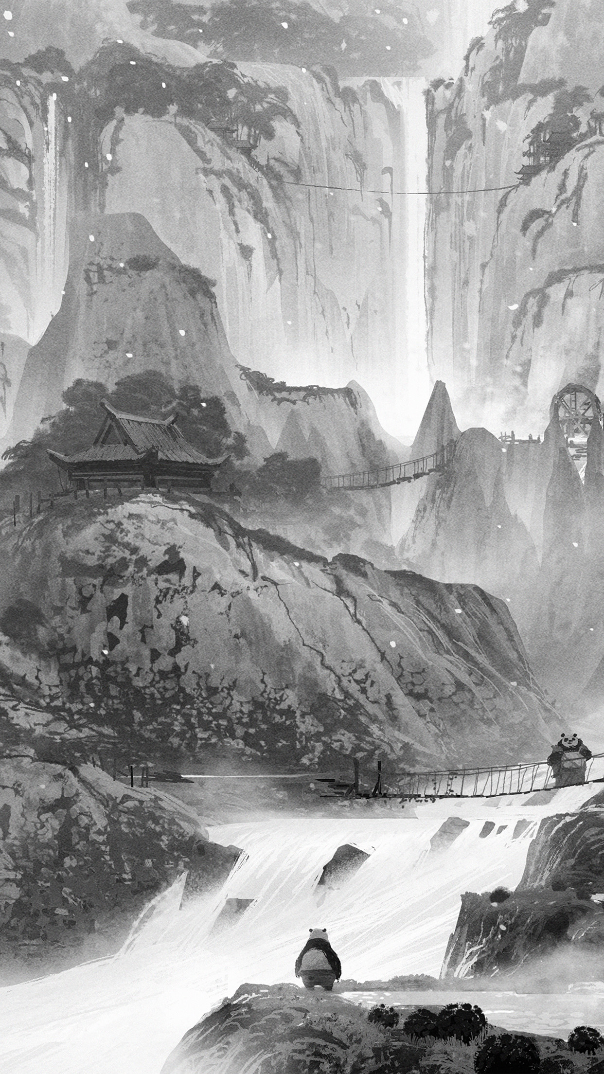 Ao56 Kungfu Panda Background Art Illust Film Dark Bw Wallpaper