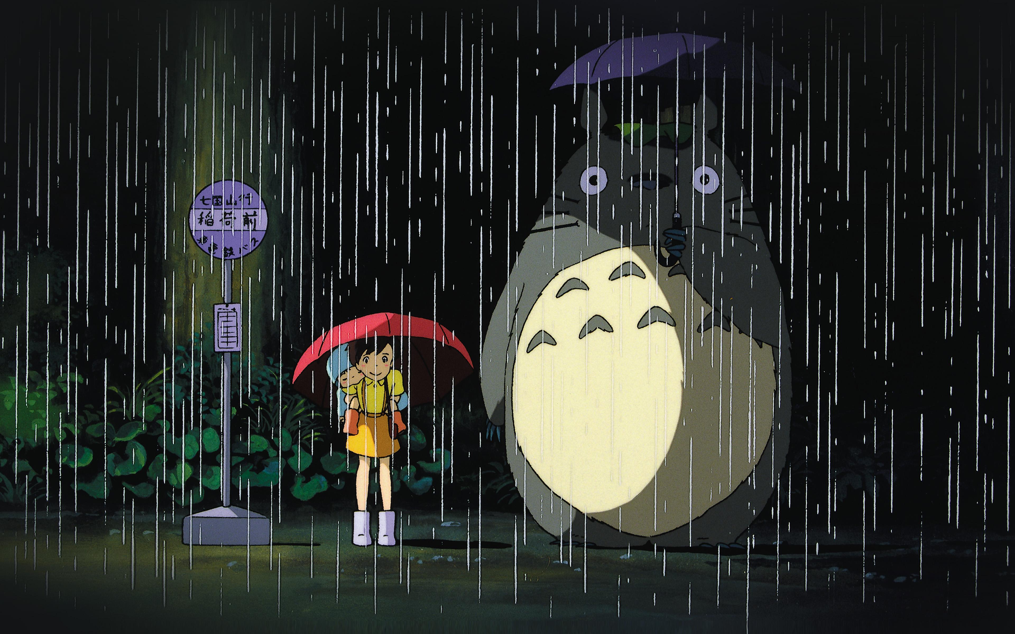 Ao63 My Neighbor Totoro Art Illust Rain Anime Papers Co