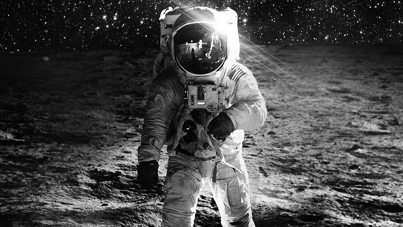 Wallpaper For Desktop Laptop Ao98 Astronaut Space Art Moon Dark Bw
