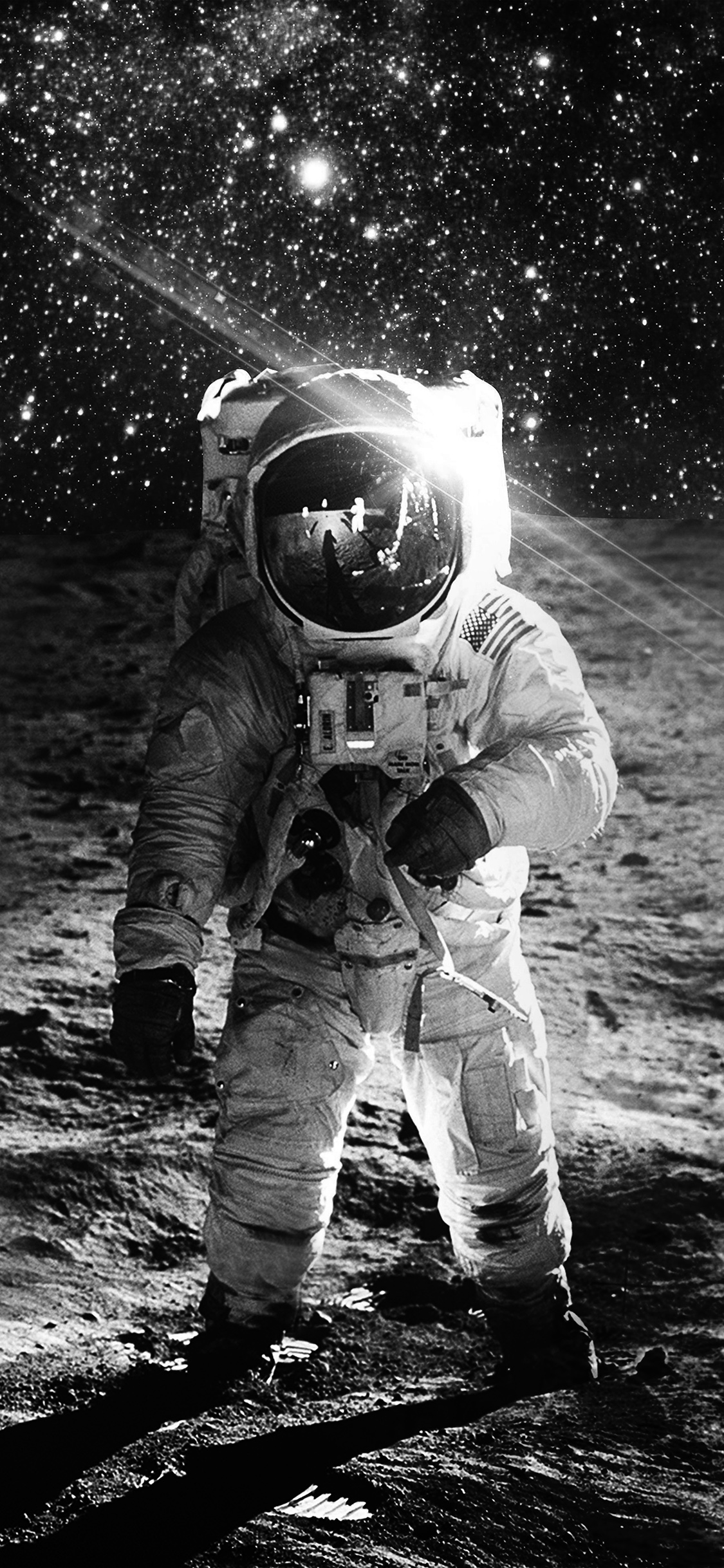 papers.co ao98 astronaut space art moon dark bw 41 iphone wallpaper