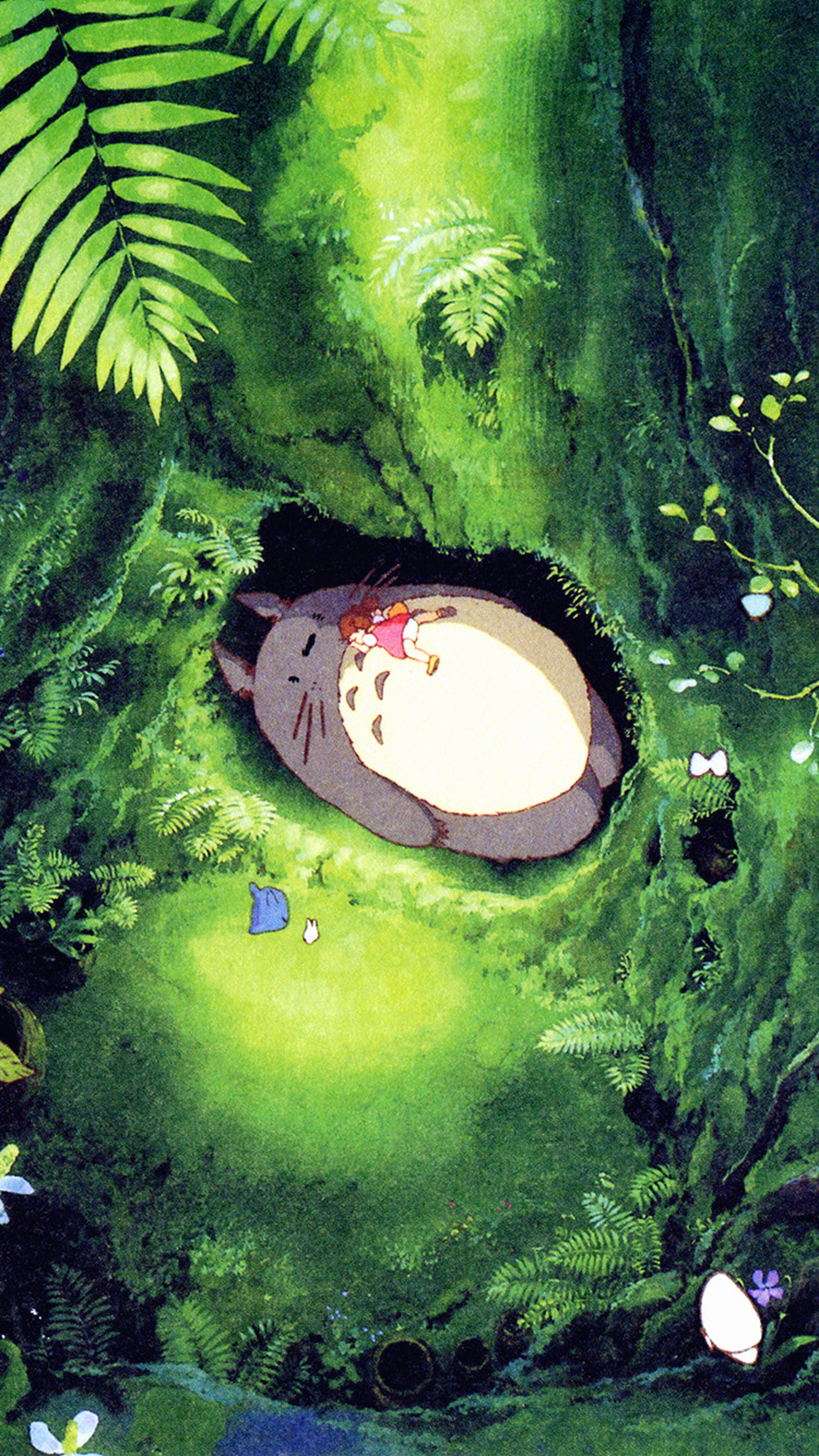 Papers.co-iPhone5-iphone6-plus-wallpaper-ap14-japan-totoro-art-green-anime-illustration