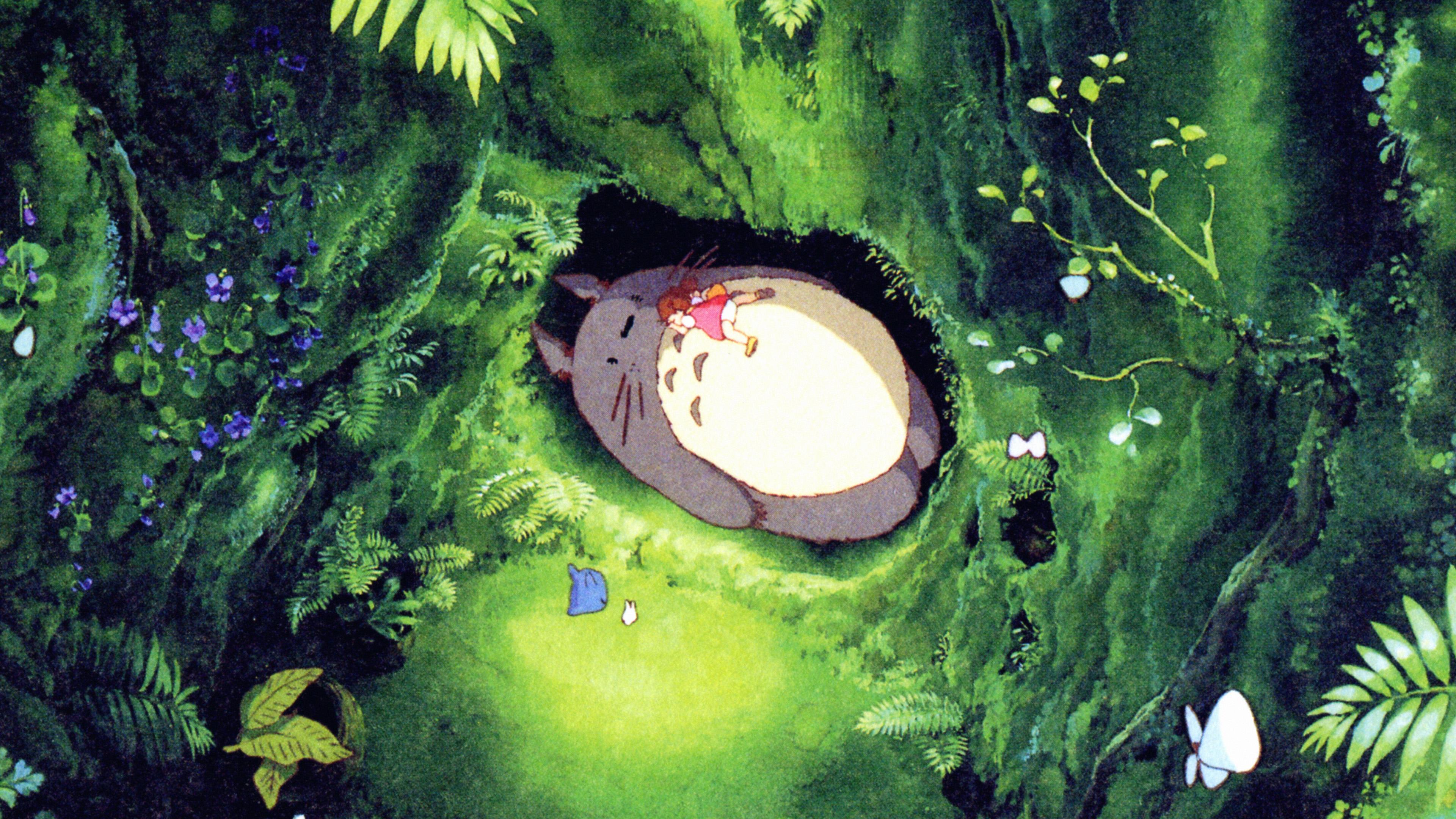 Ap14 Japan Totoro Art Green Anime Illustration Wallpaper