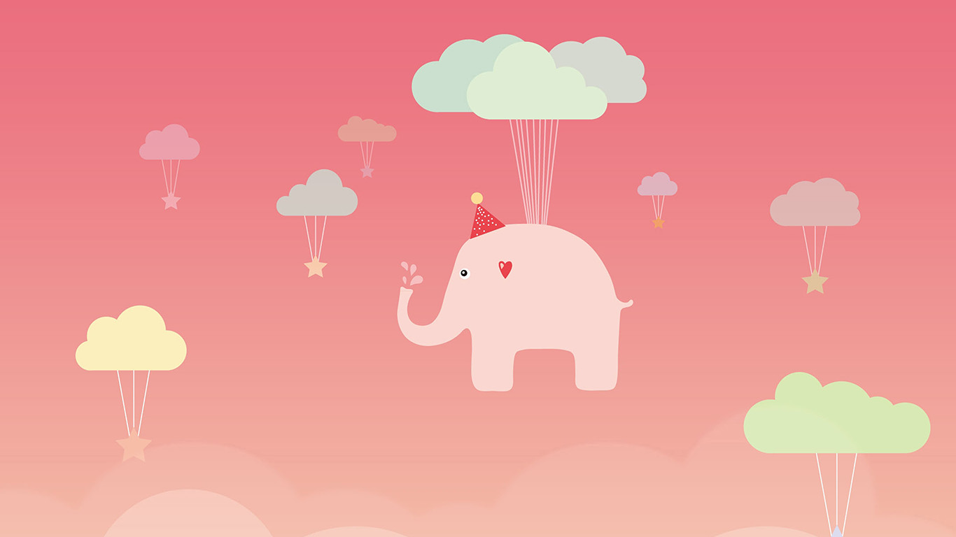 desktop-wallpaper-laptop-mac-macbook-air-ap44-cute-elephant-illustration-art-pink-fly-wallpaper