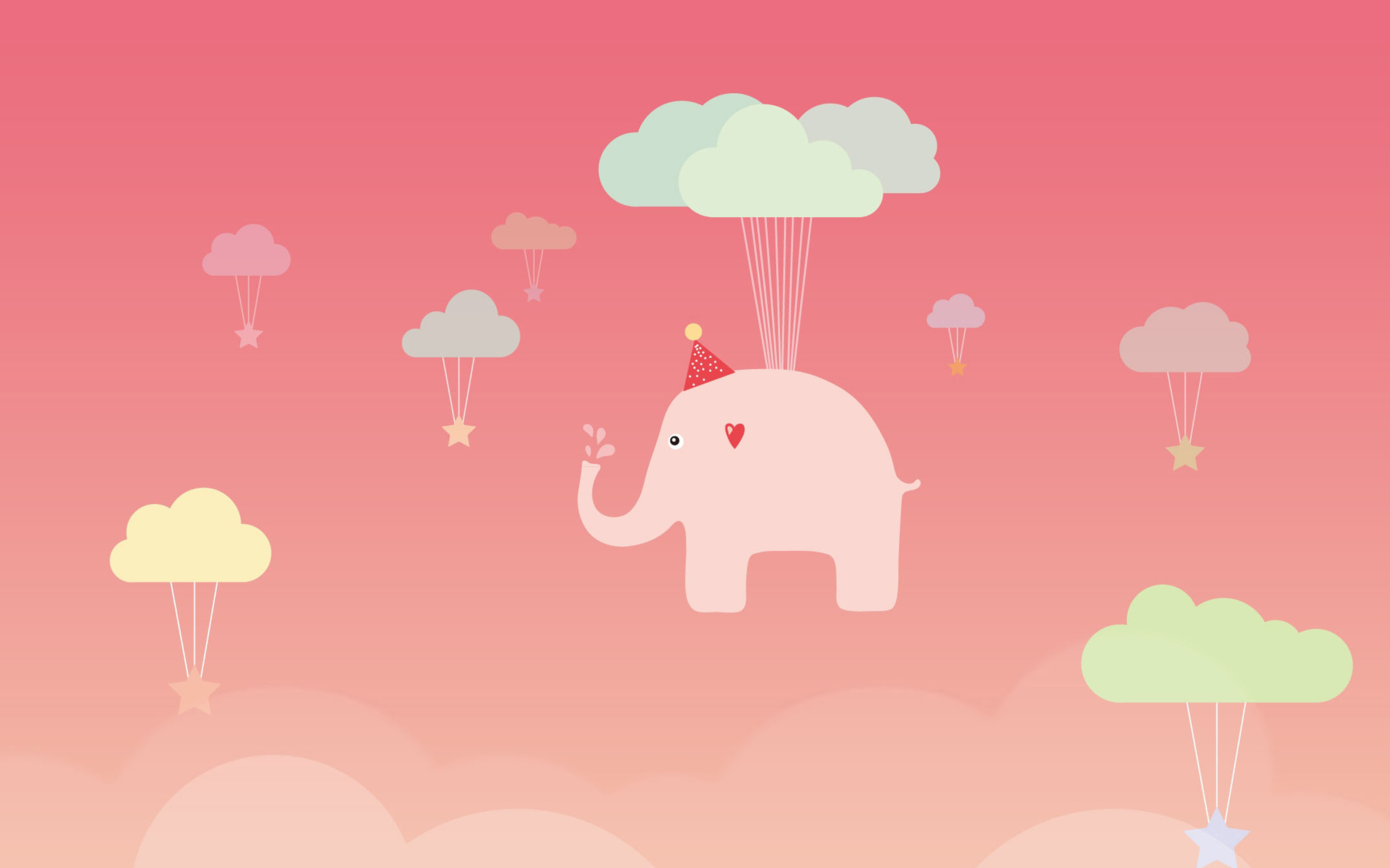 Ap44 Cute Elephant Illustration Art Pink Fly Wallpaper